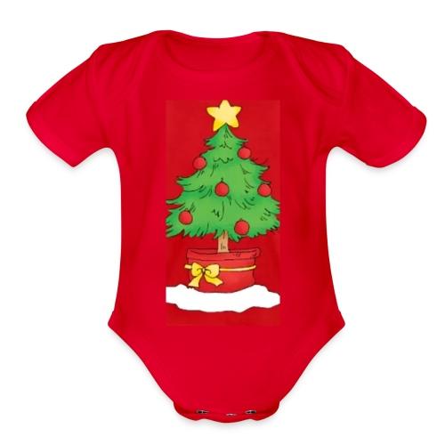 Xmas tree - Organic Short Sleeve Baby Bodysuit