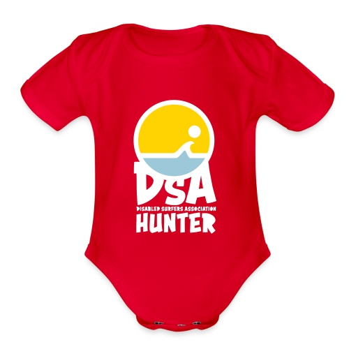 Disabled Surfers Association Hunter - Light Logo - Organic Short Sleeve Baby Bodysuit