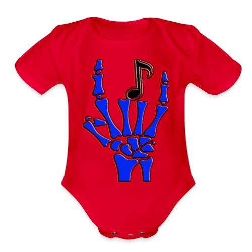 Rock on hand sign the devil's horns - Organic Short Sleeve Baby Bodysuit