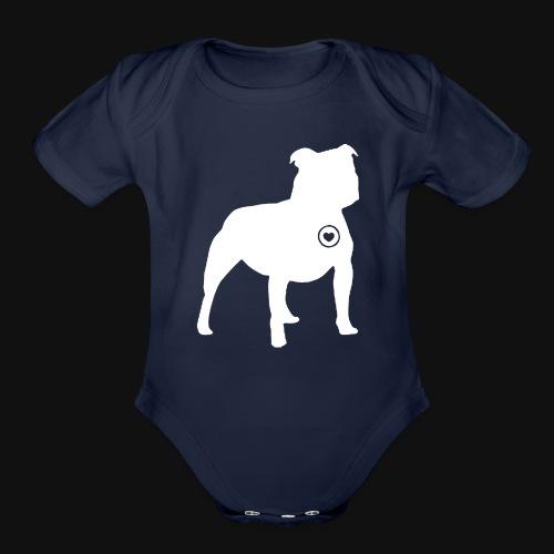 Staffy love - Organic Short Sleeve Baby Bodysuit