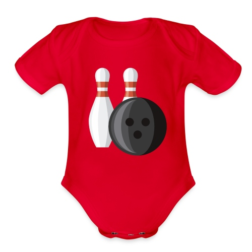 Bowling Ball and Pins - Organic Short Sleeve Baby Bodysuit