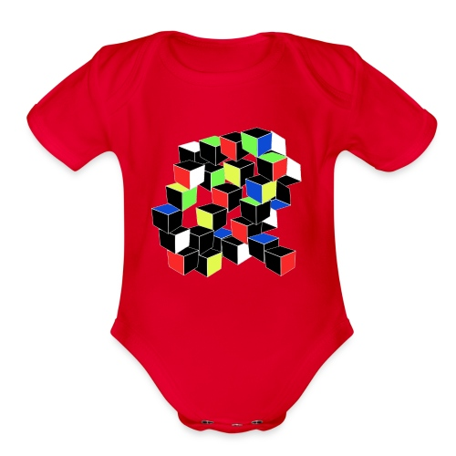 Optical Illusion Shirt - Cubes in 6 colors- Cubist - Organic Short Sleeve Baby Bodysuit