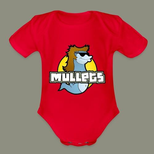 mullets logo - Organic Short Sleeve Baby Bodysuit