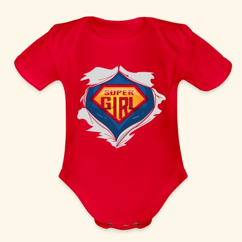 super girl - Organic Short Sleeve Baby Bodysuit