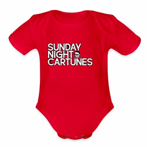 Sunday Night Cartunes Skull - Organic Short Sleeve Baby Bodysuit