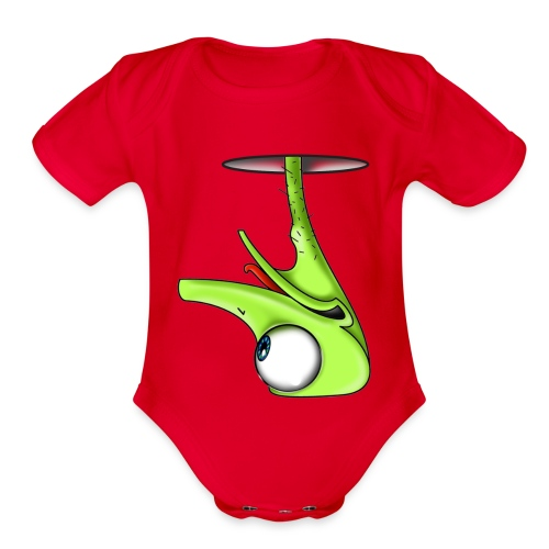 Funny Green Ostrich - Organic Short Sleeve Baby Bodysuit