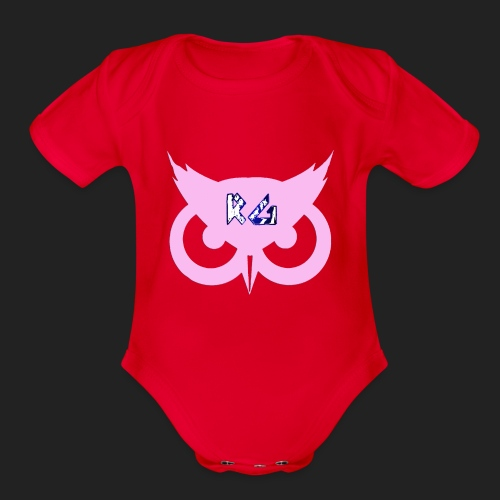 RG Pink Owl Logo - Organic Short Sleeve Baby Bodysuit