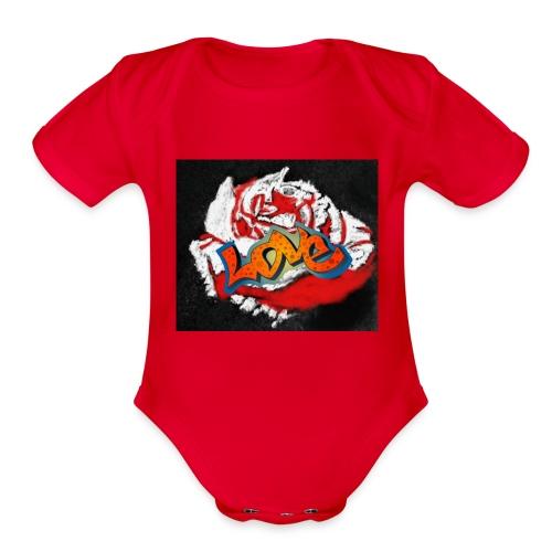 Rose. Love - Organic Short Sleeve Baby Bodysuit