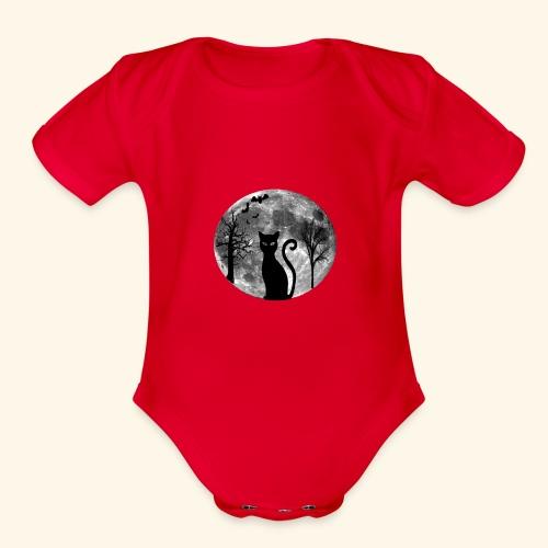 moon cat - Organic Short Sleeve Baby Bodysuit