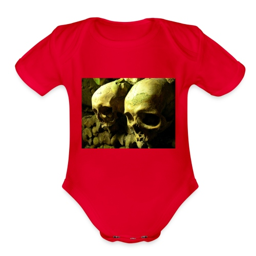 Skull design realistic 2 - Organic Short Sleeve Baby Bodysuit