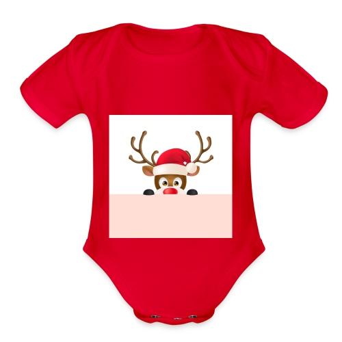 Christmas deer - Organic Short Sleeve Baby Bodysuit