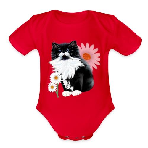 Little Tux Kitten-Daisy - Organic Short Sleeve Baby Bodysuit