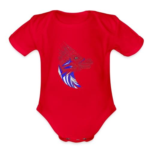 Blue dragon head - Organic Short Sleeve Baby Bodysuit