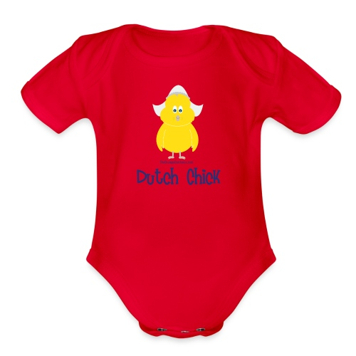 Dutch Chick blue lettering - Organic Short Sleeve Baby Bodysuit