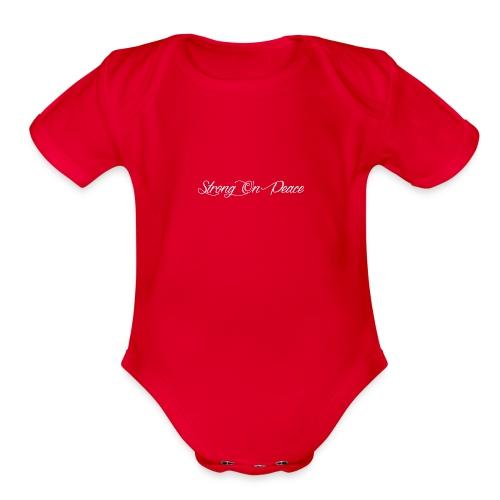 Strong On Peace (Cursive) - Organic Short Sleeve Baby Bodysuit