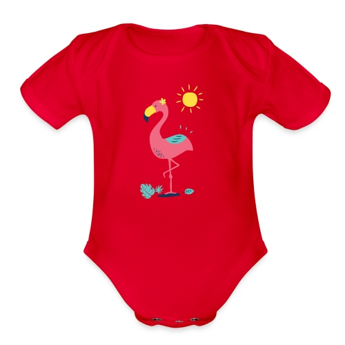 Khodeco design flamingo - Organic Short Sleeve Baby Bodysuit