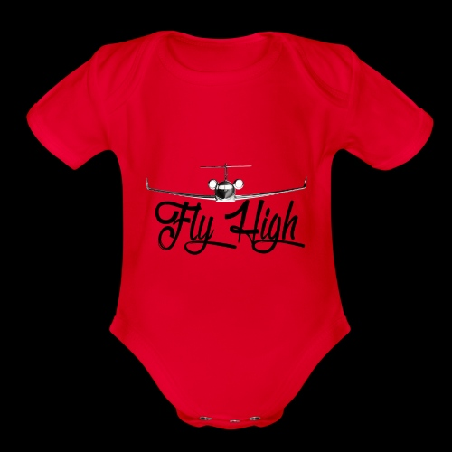 NEW FLY HIGH LOGO BLACK - Organic Short Sleeve Baby Bodysuit