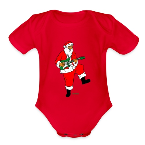 santa clause guitar - Organic Short Sleeve Baby Bodysuit