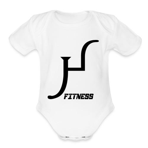 HIIT Life Fitness logo white - Organic Short Sleeve Baby Bodysuit