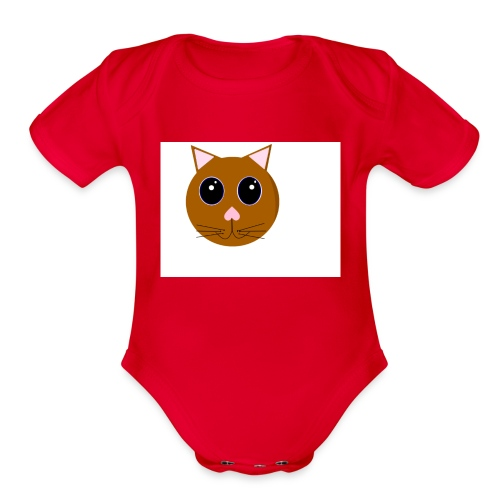 cute_cat - Organic Short Sleeve Baby Bodysuit