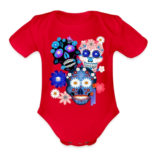 3 Skulls-Day Of The Dead - Organic Short Sleeve Baby Bodysuit