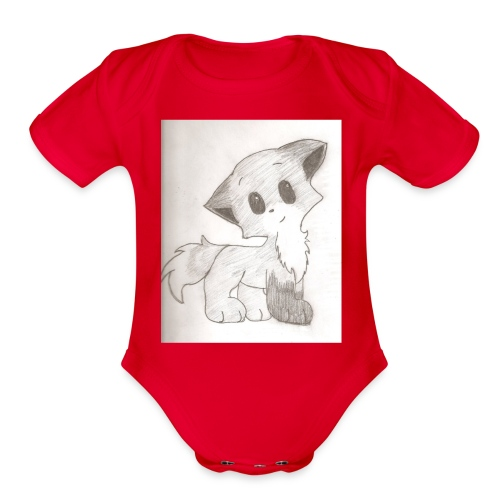 Adorable Drawing Of Anime Fox - Organic Short Sleeve Baby Bodysuit