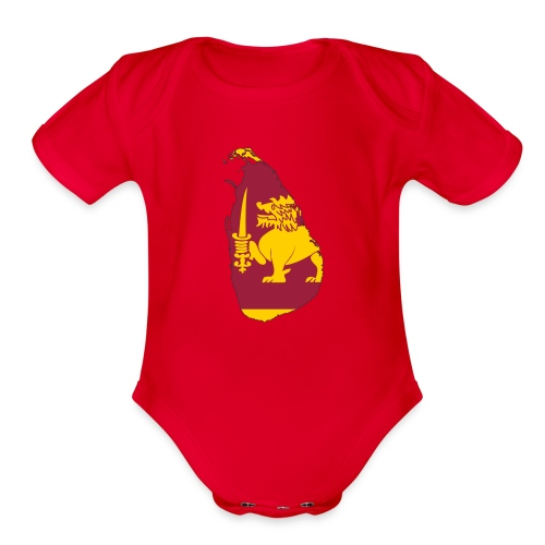 Flag map of sri lanka - Organic Short Sleeve Baby Bodysuit
