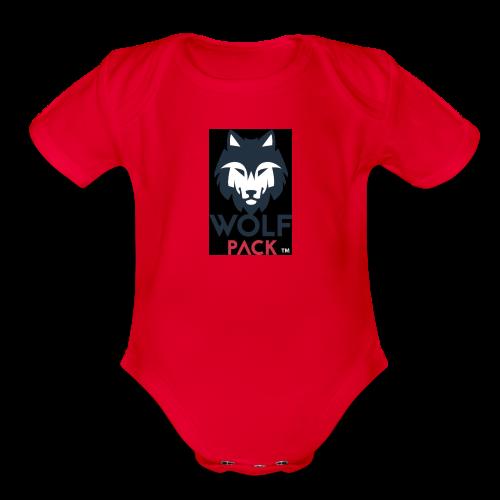 Wolf Pack Logo - Organic Short Sleeve Baby Bodysuit