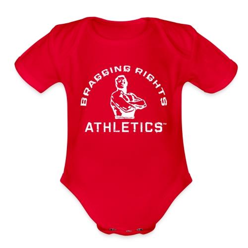 Bragging_RightsTMWhiteT - Organic Short Sleeve Baby Bodysuit