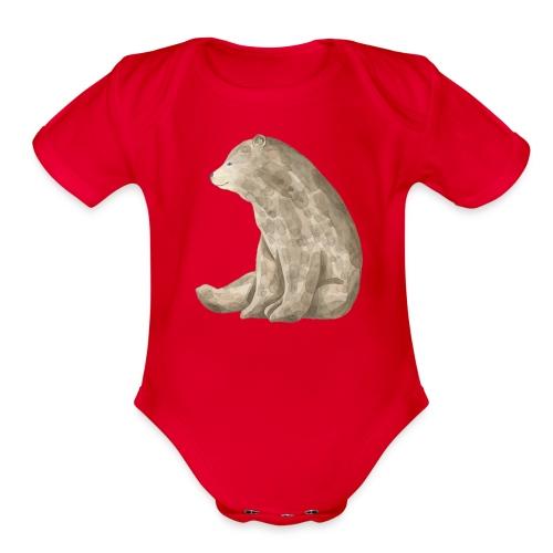 Sitting Bear - Organic Short Sleeve Baby Bodysuit