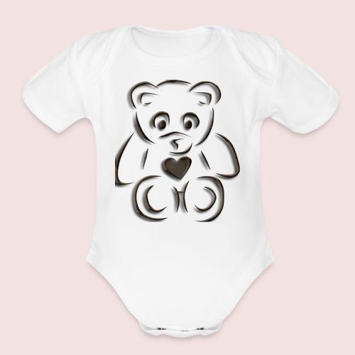 realistic teddy - Organic Short Sleeve Baby Bodysuit