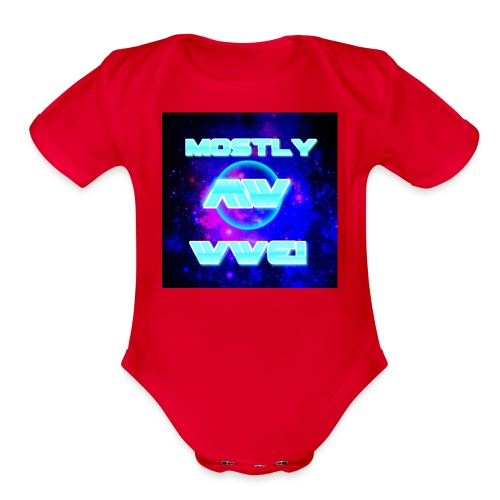 mostly wwe! space logo - Organic Short Sleeve Baby Bodysuit