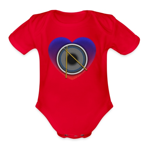 Heart Of Drums Logo - Organic Short Sleeve Baby Bodysuit