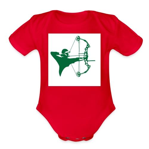 man with bow - Organic Short Sleeve Baby Bodysuit