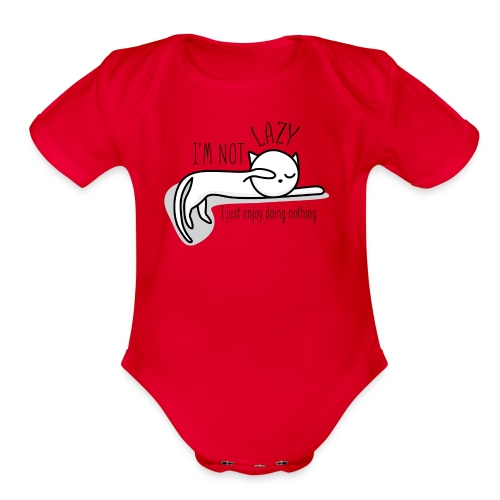 A lazy cute cat - Organic Short Sleeve Baby Bodysuit