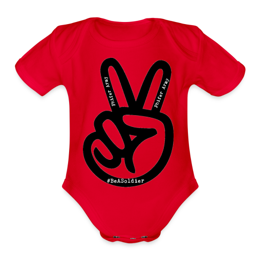 peace sign phifer army merch - Organic Short Sleeve Baby Bodysuit