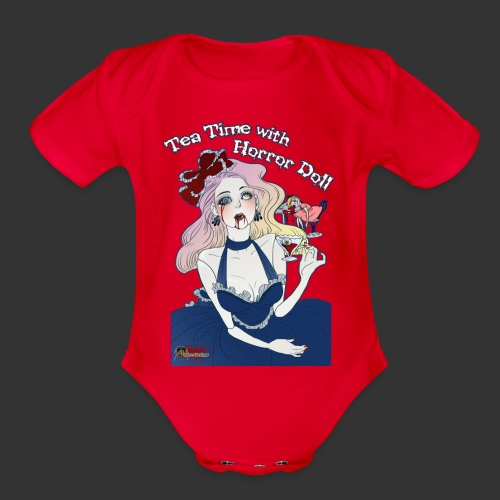 Tea Time With Horror Doll - Organic Short Sleeve Baby Bodysuit