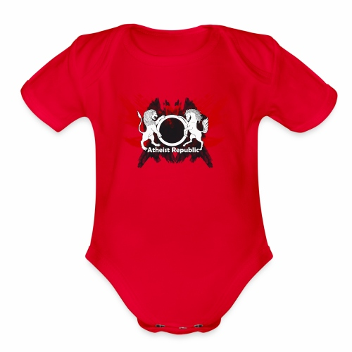Atheist Republic Logo - Red & Black Painted Crest - Organic Short Sleeve Baby Bodysuit