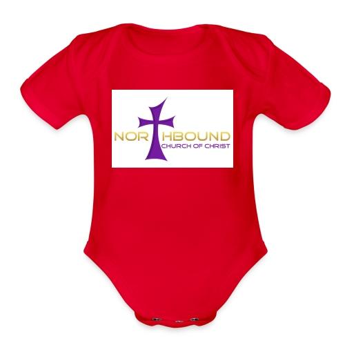 NB long logo - Organic Short Sleeve Baby Bodysuit