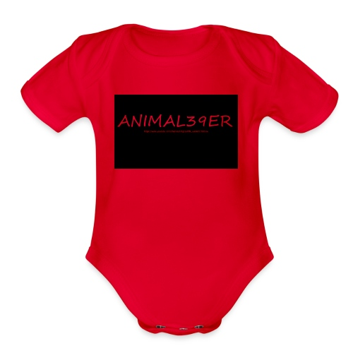 Animal39er with link - Organic Short Sleeve Baby Bodysuit