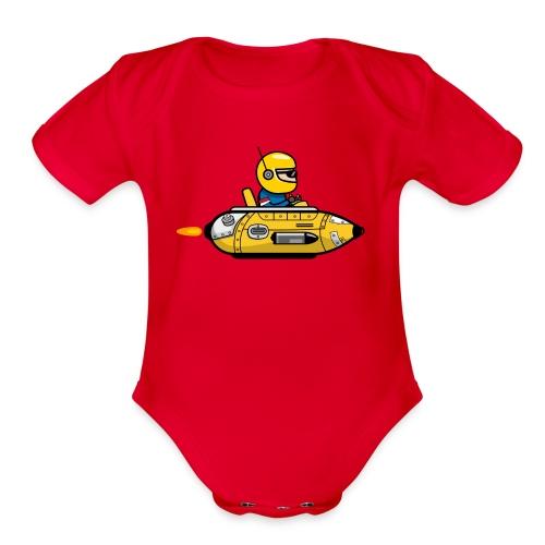 Yellow space marine - Organic Short Sleeve Baby Bodysuit