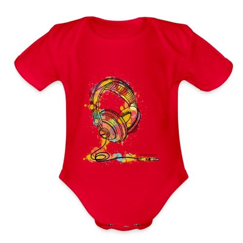 Watercolour Headphone - T-Shirt - Organic Short Sleeve Baby Bodysuit