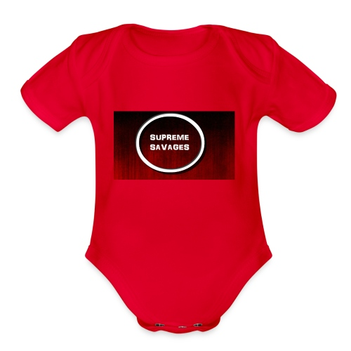 Black Red Grunge Texture - Organic Short Sleeve Baby Bodysuit