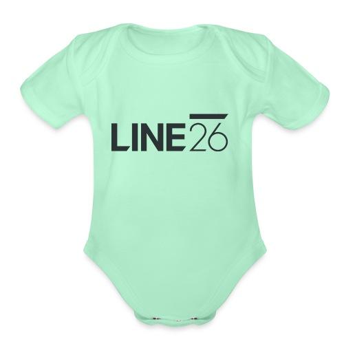 Line26 Logo (Dark Version) - Organic Short Sleeve Baby Bodysuit