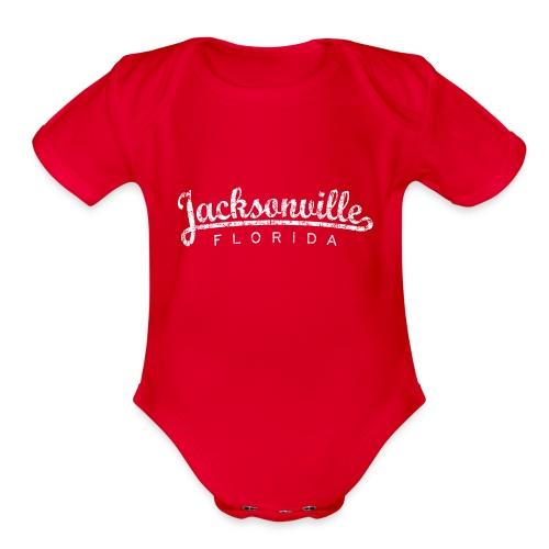 Jacksonville, Florida (Vintage White) - Organic Short Sleeve Baby Bodysuit