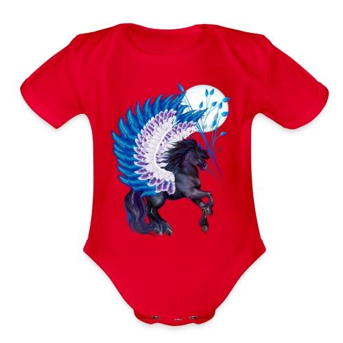 Blue Winged Pegasus - Organic Short Sleeve Baby Bodysuit