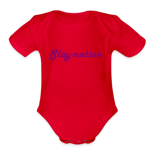 purple slay nation - Organic Short Sleeve Baby Bodysuit