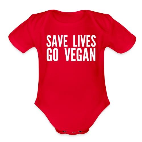 SAVE LIVES GO VEGAN - Organic Short Sleeve Baby Bodysuit