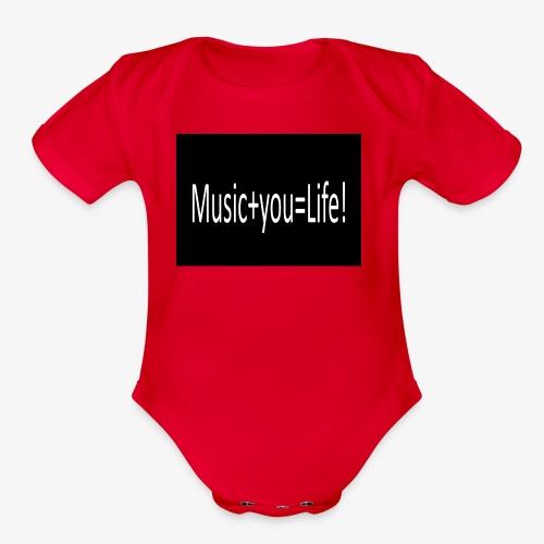 Music+you=Life - Organic Short Sleeve Baby Bodysuit