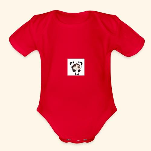 panda girl - Organic Short Sleeve Baby Bodysuit